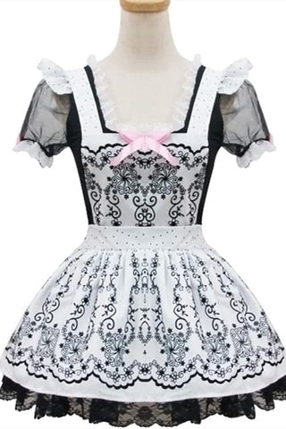 Lolita Retro Floral Lace Princess Maid Dress Cosplay Costume  SP153687 - SpreePicky  - 3