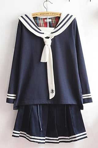 M-XL Beige/Navy Long Sleeve Sailor Top with Skirt Uniform Set SP153608 - SpreePicky  - 4