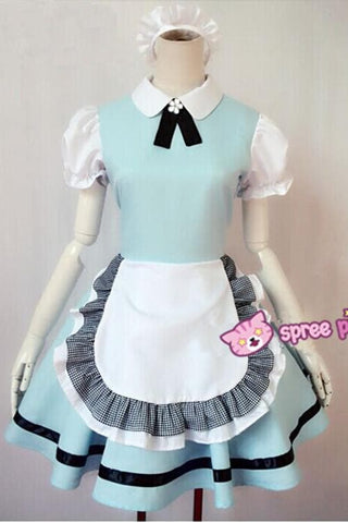 M/L Pastel Blue Lolita Maid Dress Cosplay Costume SP153557 - SpreePicky  - 3