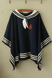 Navy/Beige Simple Sailor Loose Cape Coat SP153451 - SpreePicky  - 3