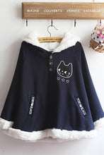 Load image into Gallery viewer, Navy/Red/Grey Sweet Girl Cutie Cat Cape Coat SP153479 - SpreePicky  - 3