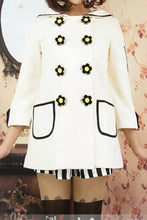 Load image into Gallery viewer, Navy/White Daisy Flowers Coat SP153806/Pant-skirt SP154355 - SpreePicky  - 3