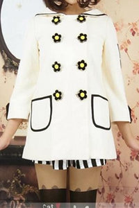 Navy/White Daisy Flowers Coat SP153806/Pant-skirt SP154355 - SpreePicky  - 3