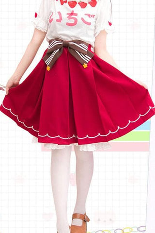 Red Kawaii Strawberry Skirt SP153809 - SpreePicky  - 3