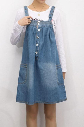 S-4XL Blue Denim Sweet Girl Suspender Dress SP153321 - SpreePicky  - 3