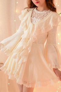 S/M/L Apricot Ruffle Sleeve Princess Dress SP153626 - SpreePicky  - 3