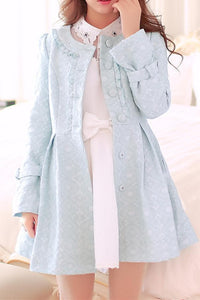 S/M/L Light Blue Princess Bow Lace Coat SP154532 - SpreePicky  - 3