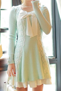 S/M/L Pastel Green Sweet Princess Long Sleeve Knitted Dess SP153502 - SpreePicky  - 4