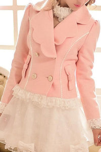 S/M/L Pinky Wave Collar Double-breasted Coat SP153623 - SpreePicky  - 3