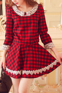 S/M/L Red Grids Dolly Lace Top/Skirt SP153497/SP153856 - SpreePicky  - 3