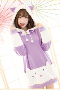 "S/M/L [The ""Hentai"" Prince and the Stony Cat] Tsukiko Cat Ear Fleece Hoodie Jumper SP154329 - SpreePicky  - 3"
