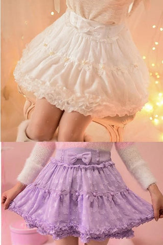 S/M/L White/Purple Sweet Candy Fluffy Skirt SP153612 - SpreePicky  - 4