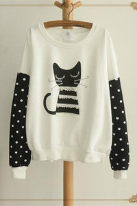 White/Grey Sleeping Kitty Sweater Jumper SP154312 - SpreePicky  - 3