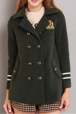 XS-L Navy/Army Green Sailor Double-breasted Coat SP154282 - SpreePicky  - 3