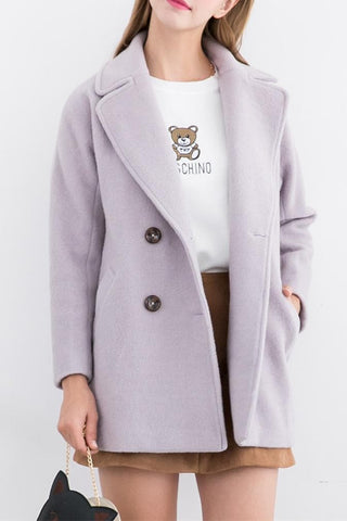 XS-L Pink/Purple Sweet Woollen Coat SP154540 - SpreePicky  - 3