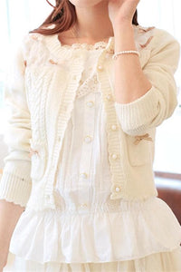 White/Beige/Pink Mori Girl Knitted Sweater Cardigan Jacket SP153443 - SpreePicky  - 2