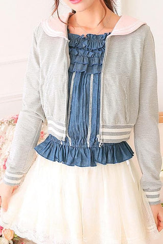 White/Grey/Pink Sailor Collar Embroidery Knitted Sweater Cardigan Coat SP153444 - SpreePicky  - 3