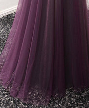 Load image into Gallery viewer, Purple Tulle Lace Round Neck Long Prom Dress, Purple Evening Dress - DelaFur Wholesale
