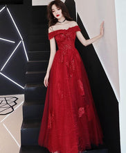 Load image into Gallery viewer, Burgundy Tulle Lace Off Shoulder Prom Dress, Burgundy Evening Dress - Harajuku Kawaii Fashion Anime Clothes Fashion Store - SpreePicky