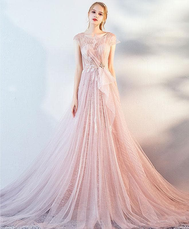 Pink Tulle Lace Long Prom Dress, Pink Evening Dress - DelaFur Wholesale