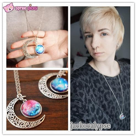 Blue/Red Galaxy Stars Pastel Moon Long Chain Necklace SP141541