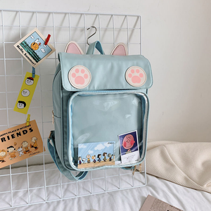 Cute Cat Paw Patch Clear Window Backpack SS0597