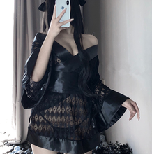 Load image into Gallery viewer, Sexy Dark Japanese Kimono Bathrobe Cosplay Lingerie