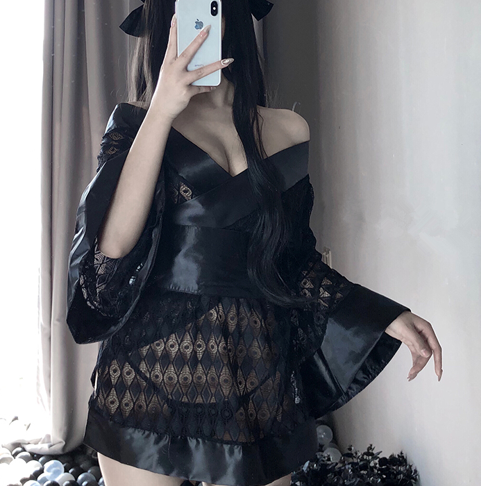 Sexy Dark Japanese Kimono Bathrobe Cosplay Lingerie
