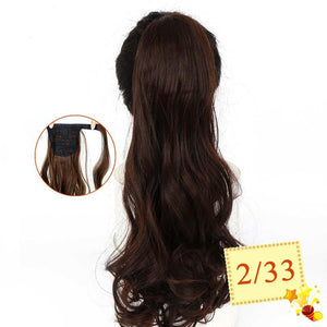 "22"" Long Wavy Wrap Around Clip In Ponytail Hair Extension Heat Resistant Synthetic Natural Wave Pony Tail Fake Hair SS0237"