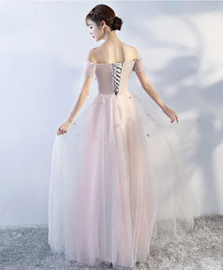 Pink Off Shoulder Tulle Lace Applique Long Prom Dress, Pink Evening Dress - DelaFur Wholesale