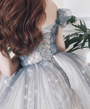 Load image into Gallery viewer, Gray Sweetheart Tulle Long Prom Dress Off Shoulder Tulle Formal Dress - DelaFur Wholesale