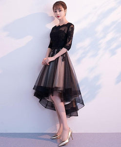 Black Tulle Lace Short Prom Dress, Black Bridesmaid Dress - DelaFur Wholesale