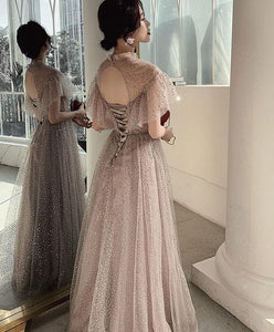 Champagne Tulle Sequin Long Prom Dress, Tulle Formal Dress - SpreePicky FreeShipping