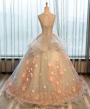 Load image into Gallery viewer, Cute Pink Tulle Lace Applique Long Prom Dress, Pink Evening Dress - DelaFur Wholesale