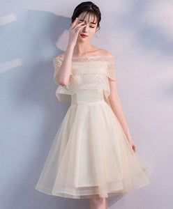 Champagne Tulle Short Prom Dress, Champagne Homecoming Dress - DelaFur Wholesale