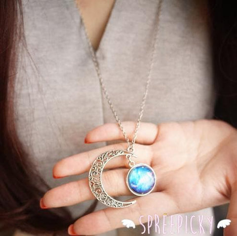 Blue/Red Galaxy Stars Pastel Moon Long Chain Necklace SP141541 - SpreePicky  - 9