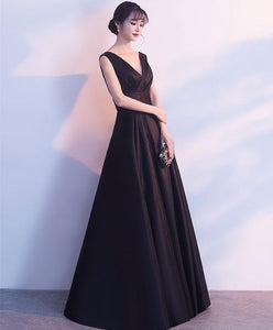 Simple Black V Neck Satin Long Prom Dress, Black Bridesmaid Dress - DelaFur Wholesale