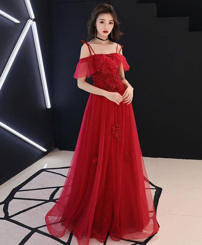 Red Tulle Lace Long Prom Dress Red Lace Formal Dress - DelaFur Wholesale