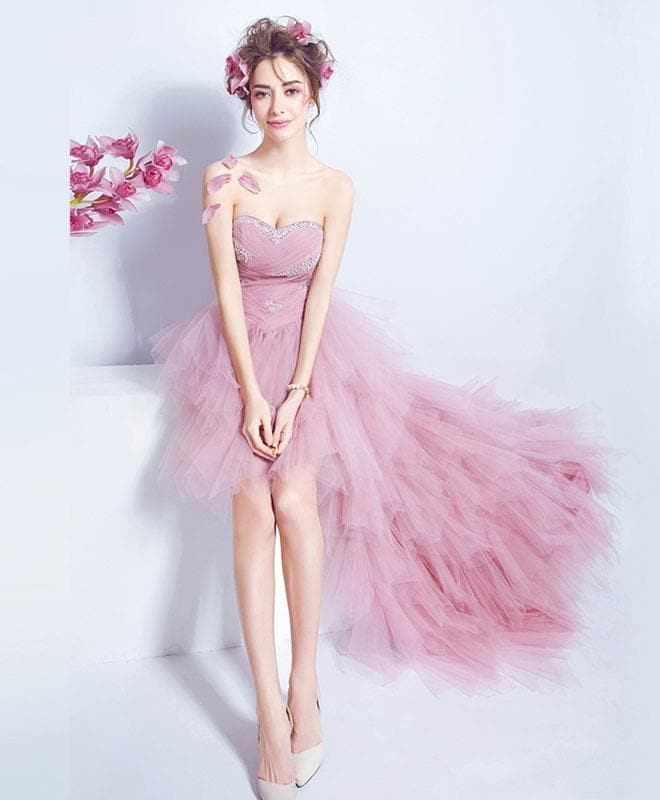 Pink Sweetheart Tulle High Low Prom Dress, Pink Evening Dress - DelaFur Wholesale