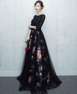 Black Tulle Lace Long Prom Dress, Black Tulle Lace Evening Dress - DelaFur Wholesale