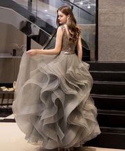 Load image into Gallery viewer, Gray V Neck Tulle Beads Long Prom Dress Gray Tulle Evening Dress A003 - DelaFur Wholesale