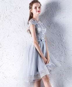 Gray Lace Tulle Short Prom Dress, Gray Homecoming Dress - DelaFur Wholesale