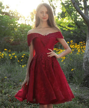 Load image into Gallery viewer, Burgundy Tulle Lace Short Prom Dress, Burgundy Bridesmaid Dress - DelaFur Wholesale