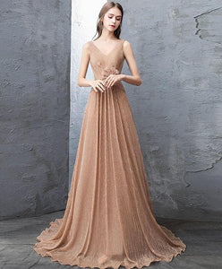 Unique Gold V Neck Tulle Long Prom Dress, Gold Tulle Evening Dress - DelaFur Wholesale