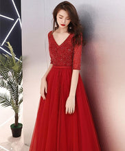 Load image into Gallery viewer, Burgundy Tulle Beads Long Prom Dress, Burgundy Tulle Evening Dress - DelaFur Wholesale