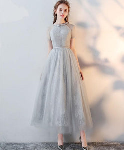Gray High Neck Tulle Lace Prom Dress Tulle Lace Evening Dress A045 - DelaFur Wholesale