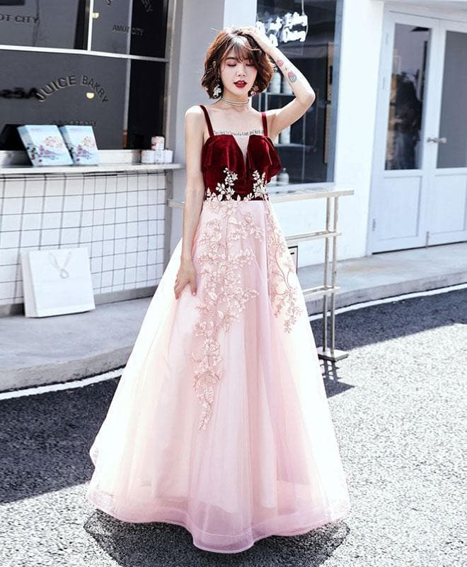 Pink Sweetheart Tulle Lace Long Prom Dress, Pink Evening Dress - DelaFur Wholesale