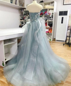 Unique Sweetheart Tulle Lace Long Prom Dress, Sweet 16 Dress - DelaFur Wholesale