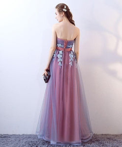 Gray Blue Tulle Long Prom Dress, Gray Blue Evening Dress - DelaFur Wholesale