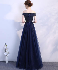 Simple Blue Off Shoulder Long Prom Dress, Blue Bridesmaid Dress - DelaFur Wholesale